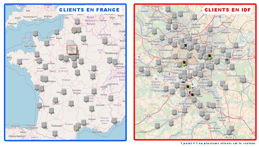 Répartition géographique des clients Arc Gestion